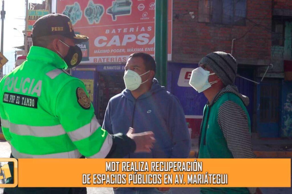 Municipalidad de El Tambo realiza recuperación de espacios públicos en Av. Mariátegui (VIDEO)
