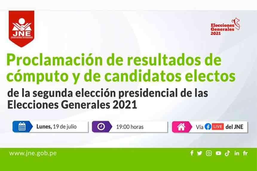 JNE proclamará a las 19:00 horas los resultados de la Segunda Elección Presidencial