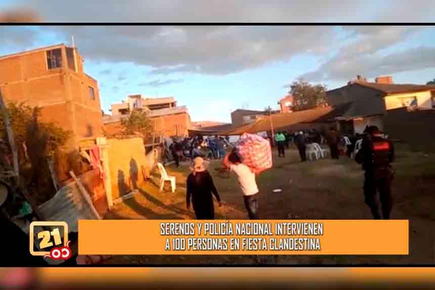 Serenos y policía nacional intervienen a 100 personas en fiesta clandestina (VIDEO)