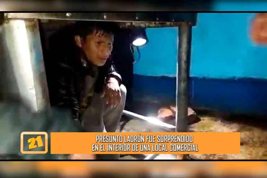 Presunto ladrón fue sorprendido en el interior de un local comercial (VIDEO)