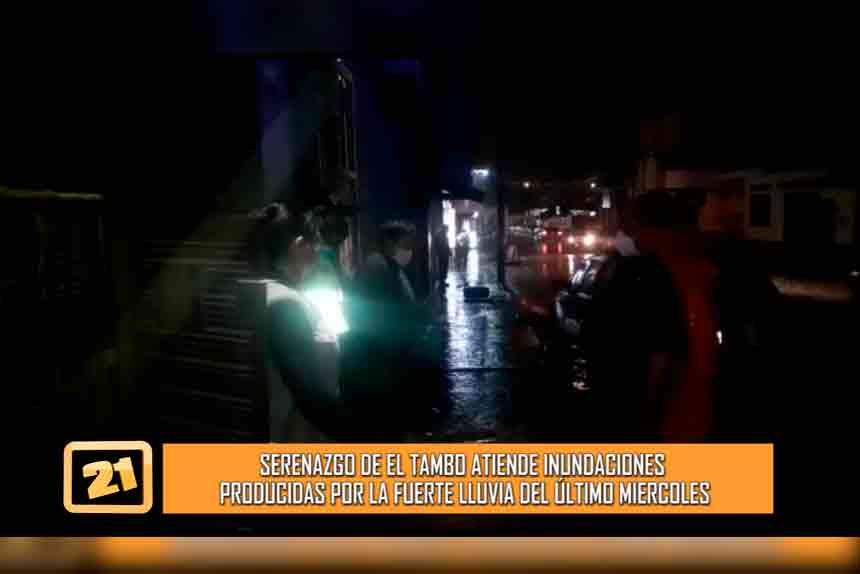 Serenazgo de El Tambo atiende inundaciones producidas por la fuerte lluvia (VIDEO)